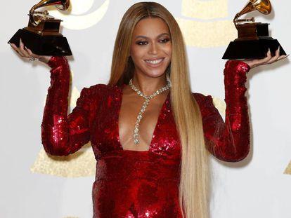 Beyoncé en la entrega de los premios Grammy en febrero de este año