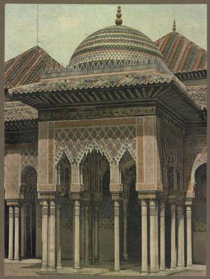 Imagen de 1902 con el templete este, después de la restauración y añadido de cupulín de Rafael Contreras en 1859.