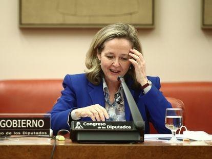 La vicepresidenta de Asuntos Económicos, Nadia Calviño, en una comparecencia este jueves en el Congreso.