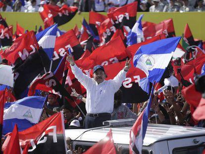 Daniel Ortega el 19 de julio, en la celebración del aniversario de la revolución sandinista.