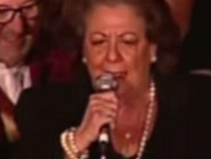 Imatge de la televisió de Rita Barberà en la Crida de les Falles.