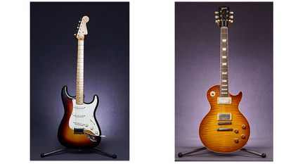 A la izquerda, la Fender Stratocaster. A la derecha, una Gibson Les Paul.
