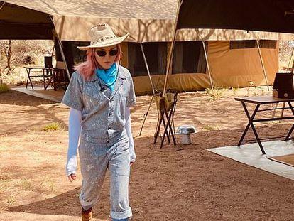 La cantante Madonna fotografiada en Kenia esta semana.