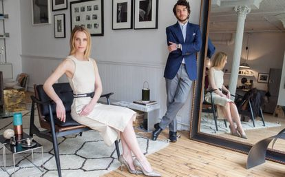 Vanessa Traina y Adam Pritzker, en la oficina de Assembled Brands en Nueva York.