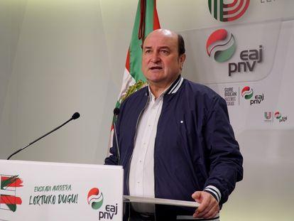 El presidente del EBB del PNV, Andoni Ortuzar, durante la presentación de la celebración del Aberri Eguna.