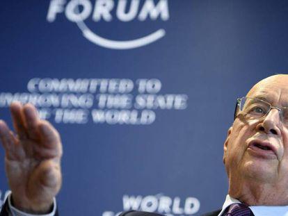 El fundador y presidente del Foro Económico Mundial, Klaus Schwab en una rueda de prensa en Cologny cerca de Ginebra (Suiza) el 10 de enero pasado.
