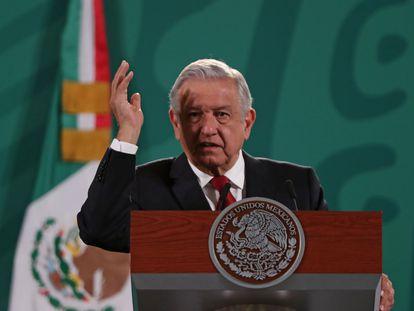 El presidente de México, Andrés Manuel López Obrador, en su conferencia de prensa, este martes.