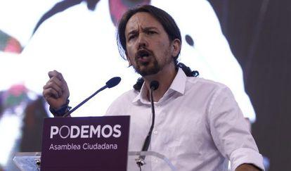 Pablo Iglesias en la asamblea de Podemos en plaza de toros de Vistalegre.