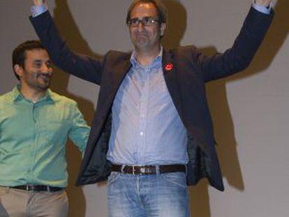 El candidato de Primavera Europea, Jordi Sebastià, en el acto de final de campaña en Castellón.