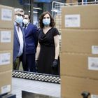 The president of the Community of Madrid Isabel Diaz Ayuso visits the facilities of the company for the distribution of cofares medicines in Mostoles Madrid 06 May 2020