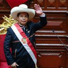 Lima (Peru), 28/07/2021.- A handout photo made available by the Presidency of Peru shows Pedro Castillo after his Investiture ceremony as head of State, in Lima, Peru, 28 July 2021. Pedro Castillo assumes today the Presidency of Peru for the period 2021-2026. EFE/EPA/Presidency of Peru HANDOUT ONLY AVAILABLE TO ILLUSTRATE THE ACCOMPANYING NEWS (MANDATORY CREDIT) HANDOUT EDITORIAL USE ONLY/NO SALES