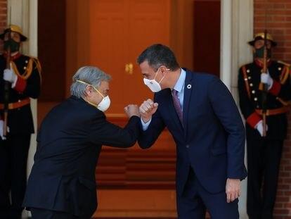 El secretario general de Naciones Unidas, Antonio Guterres, y el presidente del Gobierno, Pedro Sánchez, este viernes en La Moncloa.