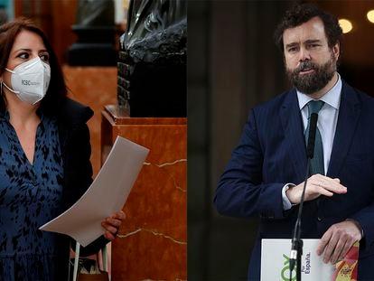 La portavoz socialista en el Congreso, Adriana Lastra, y el de Vox, Iván Espinosa de los Monteros, en sendas imágenes de este jueves en el Congreso de los Diputados.