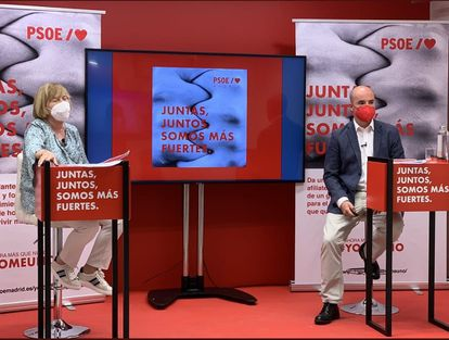 La presidenta de la gestora del PSOE-M, Isaura Leal, y el responsable de Organización de la formación, Fran Martín PSOE-M 21/05/2021