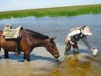 La investigadora Irene Paredes toma muestras de agua de la marisma de Doñana durante la investigación.