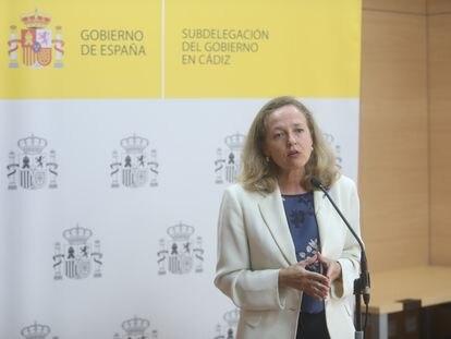 La vicepresidenta para Asuntos Económicos y Transformación Digital, Nadia Calviño, el pasado 17 de agosto en Cádiz.