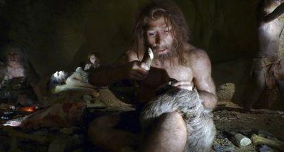Recreación de la vida de una familia neandertal en el Museo del Neandertal de Krapina (Croacia).