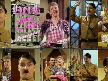 Algunas capturas del controvertido episodio piloto de 'Heil Honey I'm Home', donde se puede ver a los personajes principales de la telecomedia: Hitler y su esposa, Eva Braun.