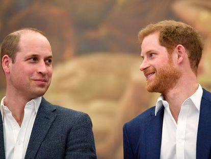 Los príncipes Guillermo y Enrique en abril de 2018.