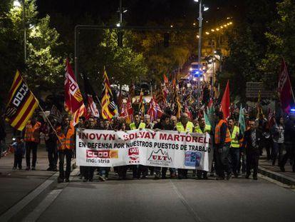 La plantilla de Inovyn protesta en Martorell.
