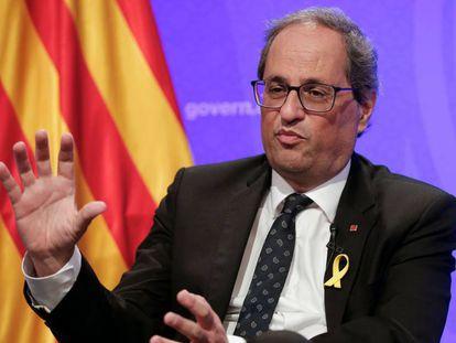 El presidente catalán Quim Torra durante la rueda de prensa con los corresponsales extranjeros.