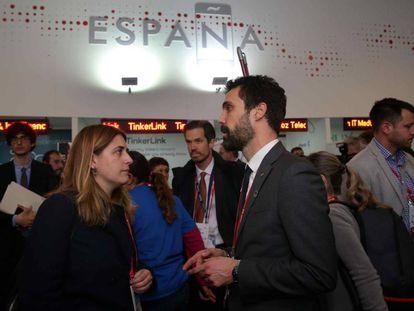 El presidente del Parlament, Roger Torrent, y la coordinadora general del PDeCAT, Marta Pascal.