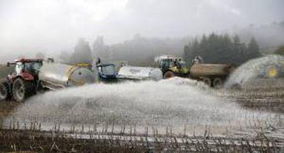 Ganaderos gallegos tiran la leche por el campo para protestar por los bajos precios los que la venden a la industria y por del aumento de los costes de producción, esta mañana en la localidad coruñesa de Arzúa.