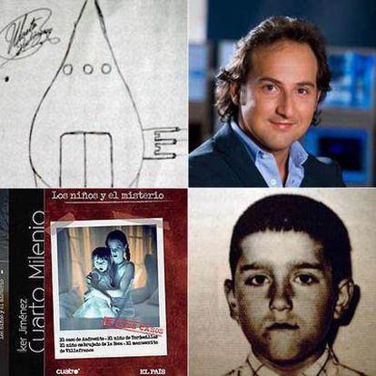 El presentador de <i>Cuarto Milenio,</i> Iker Jiménez y dibujo del objeto volador realizado por Martín . Abajo, el niño de Tordesillas, Martín, en la época en que fue atacado por un ovni, y la portada del libro-DVD,<i> Los niños y el misterio.</i>