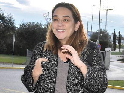 Toñi Moreno, a su llegada al hospital de Sevilla, este martes.