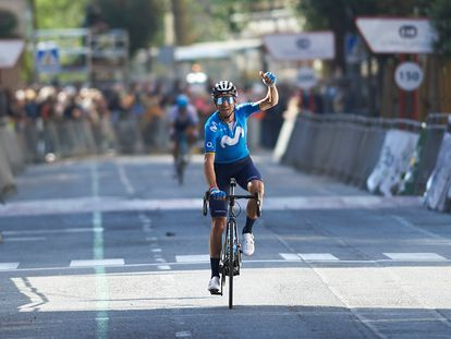 Alejandro Valverde, del equipo Movistar, este sábado en Estella.