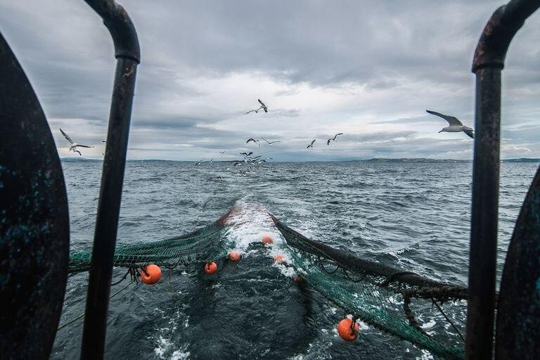 Trawls of a fishing boat off the Scottish shores near Edinburgh.