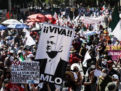 Una marcha a favor de Andrés Manuel López Obrador, en octubre de 2020.