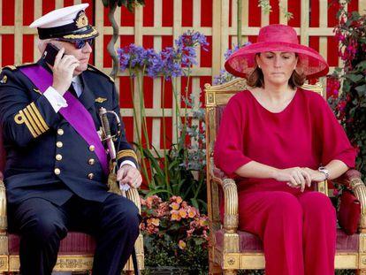 Los príncipes Lorenzo y Claire de Bélgica, en la celebración del Día Nacional de Bélgica, el 21 de julio, en Bruselas.