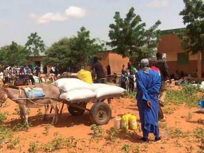 Desplazados por el conflicto de Burkina Faso en Djibo en la ciudad burkinesa de Djibo.