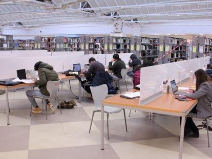 Usuarios de la biblioteca de la Universidad Pablo de Olavide de Sevilla, el pasado enero.