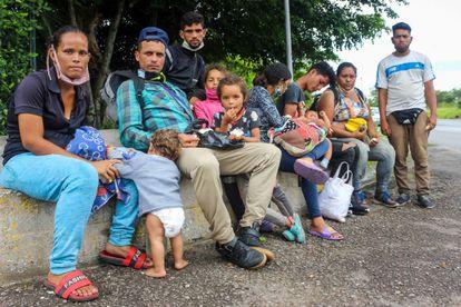 Familias de migrantes venezolanos en San Cristóbal, estado de Táchira (Venezuela).