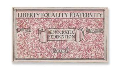 Tarjeta de afiliado de William Morris a la Federación Democrática en 1883.