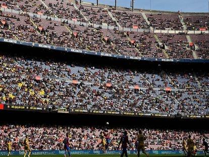 Vista general del Camp Nou durante el partido de Liga entre el Barcelona y el Levante el pasado 26 de septiembre.