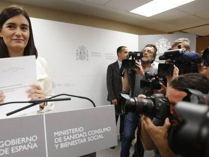 Declaraciones de la ministra de Sanidad, Carmen Montón.