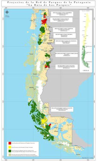 Red de parques nacionales de la Patagonia chilena.