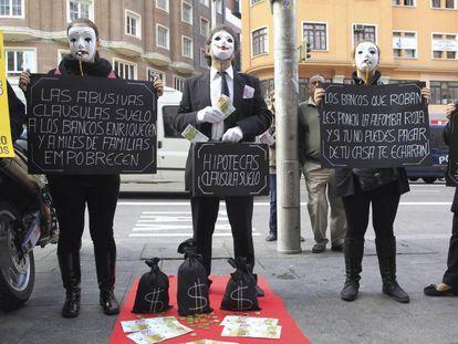 Protesta contra las cláusulas suelo en Madrid, en una imagen de archivo.