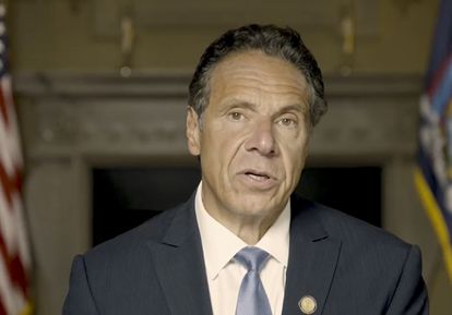 Image of New York Governor Andrew Cuomo in a recording where he defends his innocence.