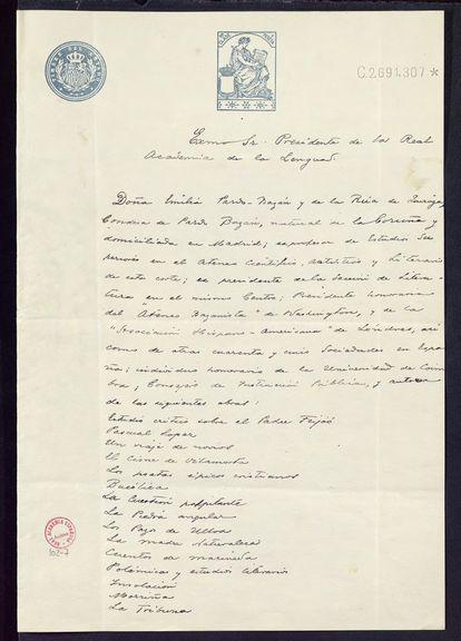 Carta de Emilia Pardo Bazán para pedir su ingreso en la Real Academia Española en 1912.