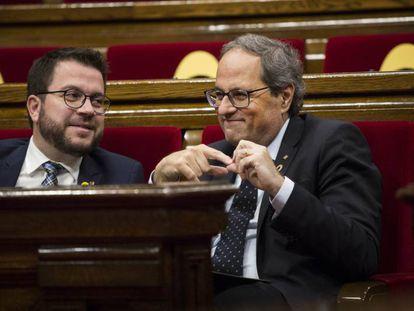 Quim Torra y Pere Aragonès en el Parlament.