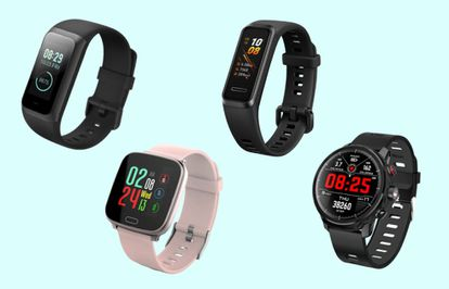 De izquierda a derecha: Xiaomi Amazfit Band 2, reloj Unotec bluetooth, Huawei Band 4 y reloj Unotec Fit Round.