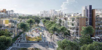 Recreación de la zona residencial de Madrid Nuevo Norte.