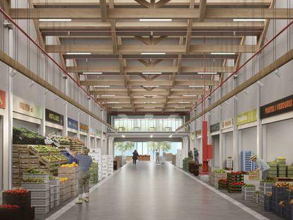 Reproducción del interior del mercado de productos Bio