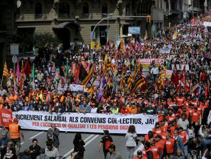 Cabecera de la manifestación del 1 de Mayo en Barcelona, en 2017.