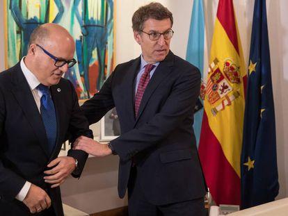 Baltar y Feijóo, durante una reunión en Santiago en 2017.