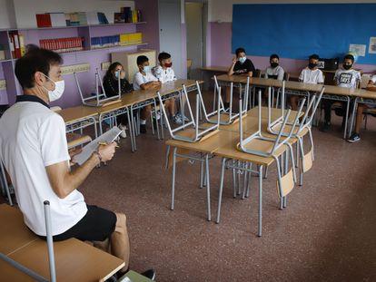 Una clase del colegio El Vallès de Terrassa, el 13 de septiembre.